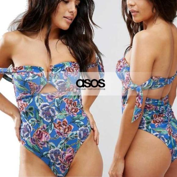 2fde687ca9 ASOS Swim | Tapestry Floral Print Bardot One Piece 6 | Poshmark